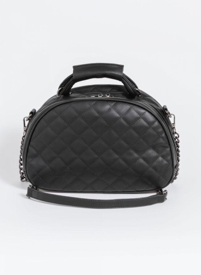 Καπιτονέ χιαστί τσάντα σε ημικυκλικό σχήμα - Μαύρο