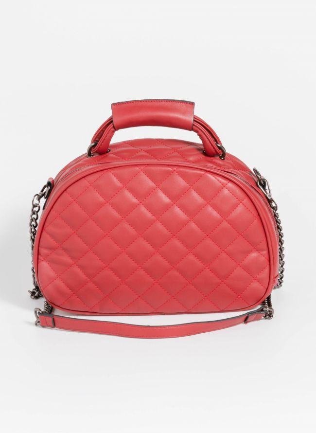 Καπιτονέ χιαστί τσάντα σε ημικυκλικό σχήμα - Μπορντό
