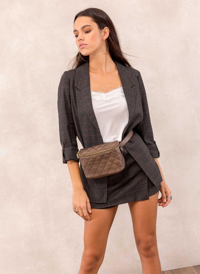 Καρώ blazer με ανοίγματα στο πλάι - Ανθρακί