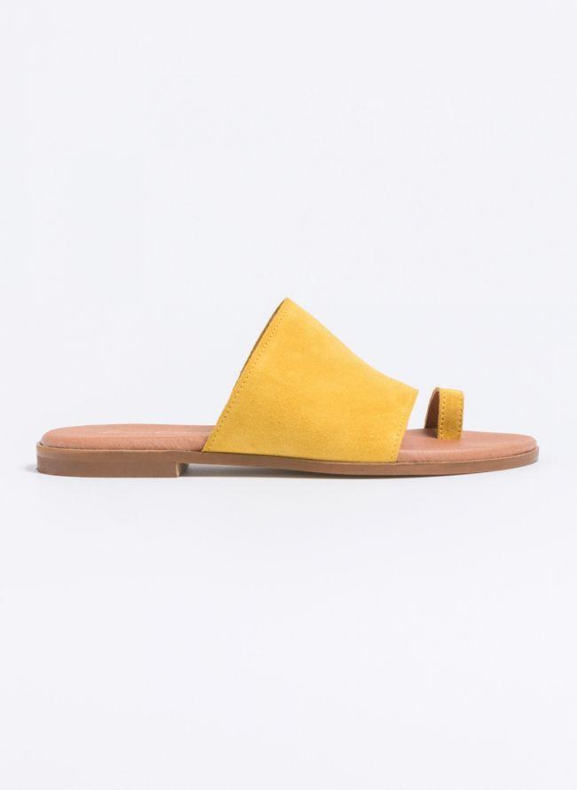 Καστόρινα flats με φαρδιά φάσα - Κίτρινο