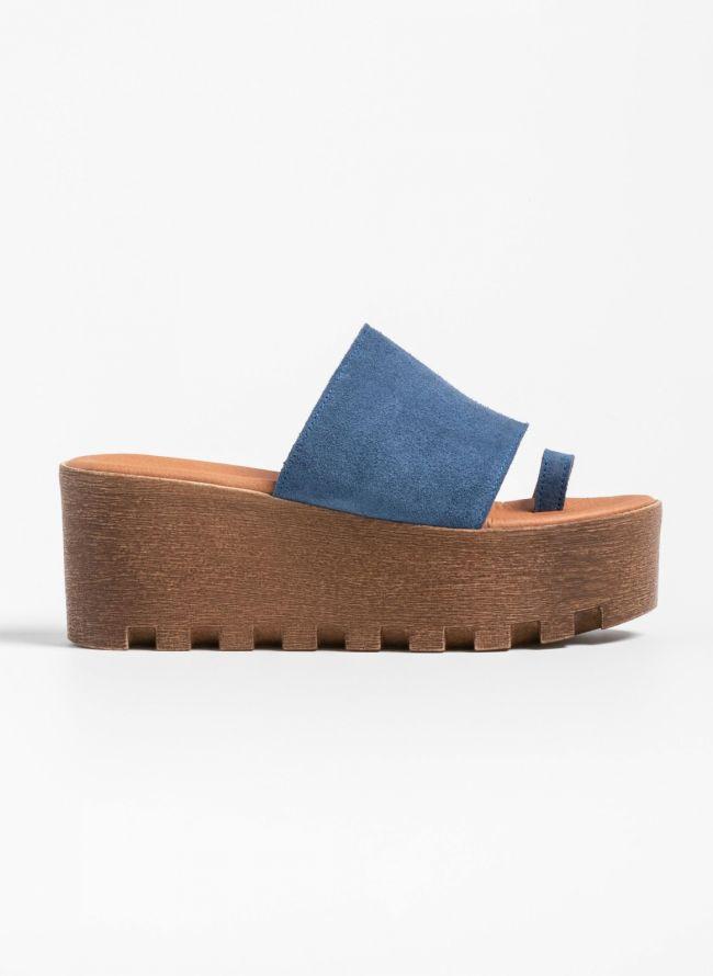 Καστόρινες πλατφόρμες με φαρδιά φάσα - Μπλε jean