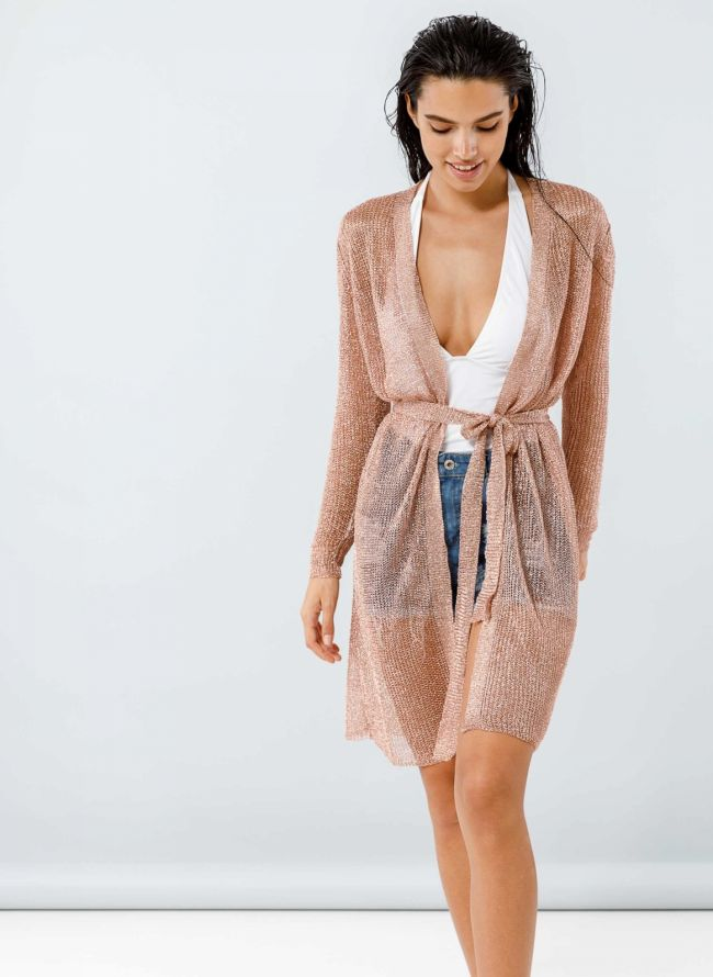 Kimono με αραιή πλέξη σε μεταλλικά χρώματα - Χαλκό