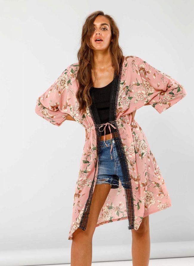 Κιμονό με crochet λεπτομέρεια - Ροζ
