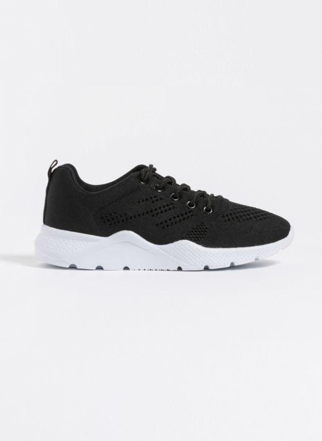 Knit διάτρητα sneakers - Μαύρο