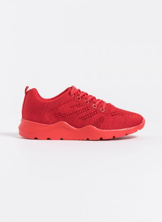 Knit διάτρητα sneakers - Κόκκινο