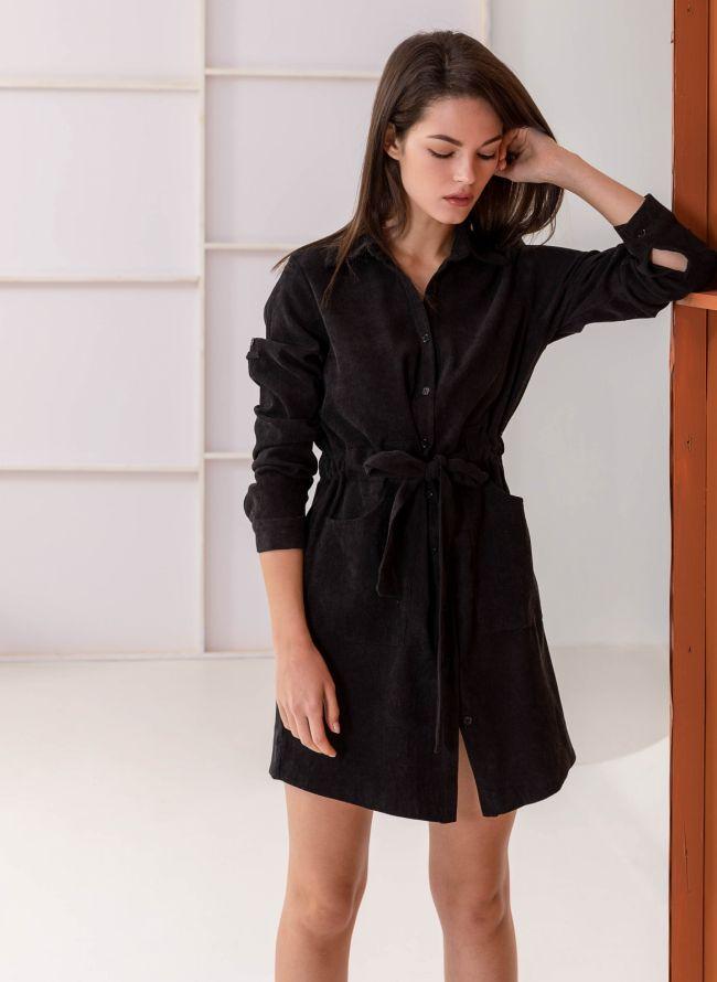 Κοτλέ φόρεμα-πουκάμισο με εξωτερικές τσέπες - Μαύρο d215fc900d0
