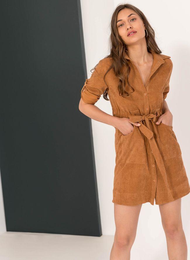 Κοτλέ φόρεμα-πουκάμισο με εξωτερικές τσέπες - Ταμπά fe19d981dba