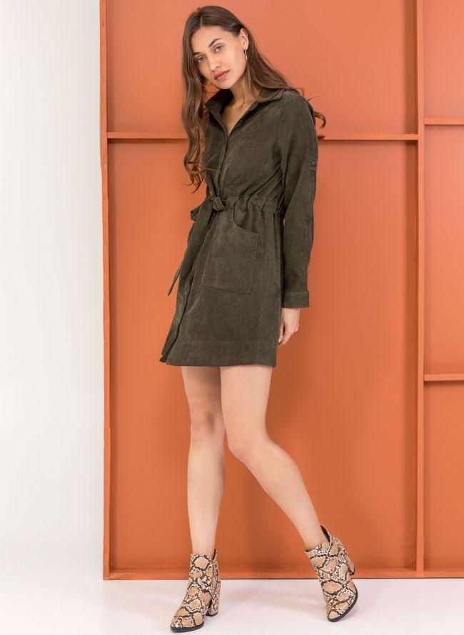 Κοτλέ φόρεμα-πουκάμισο με εξωτερικές τσέπες - Χακί b789adca27a