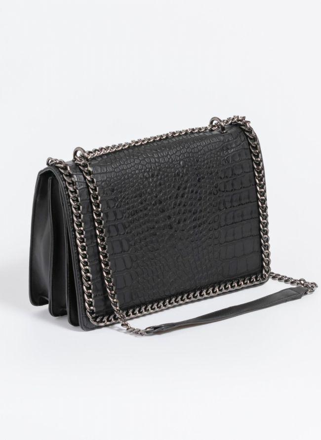 Κροκό τσάντα ώμου με αλυσίδα - Μαύρο