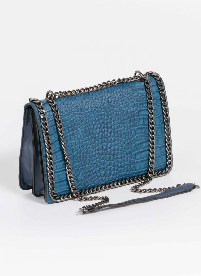 Κροκό τσάντα ώμου με αλυσίδα - Μπλε σκούρο