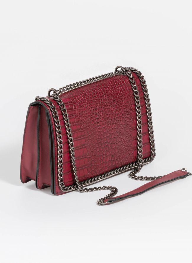 Κροκό τσάντα ώμου με αλυσίδα - Μπορντό