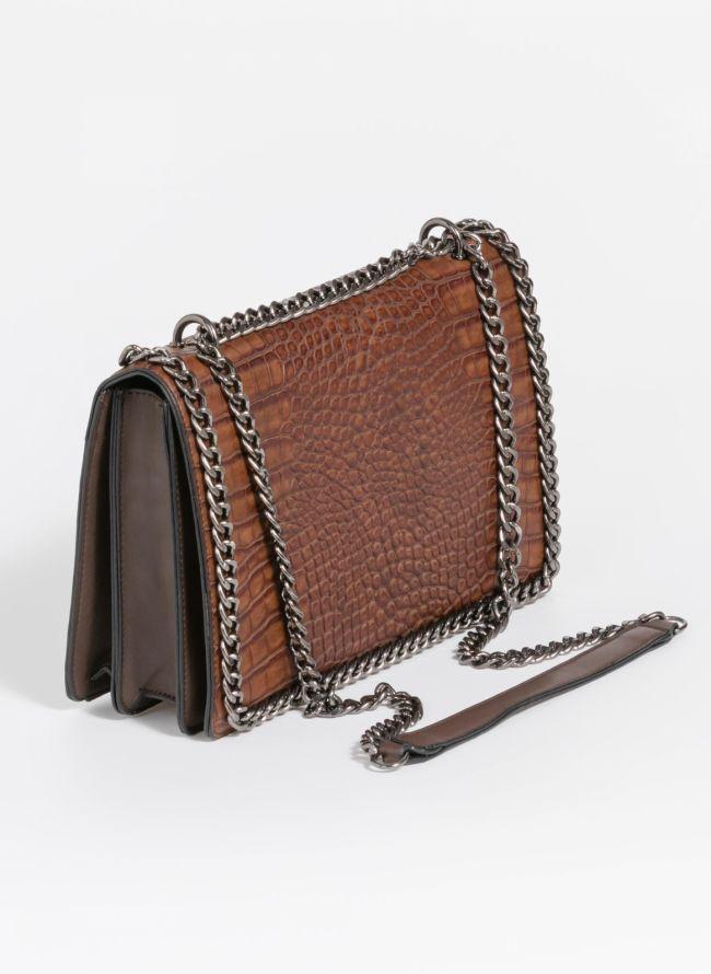 182581f352 Κροκό τσάντα ώμου με αλυσίδα - Καφέ - TheFashionProject