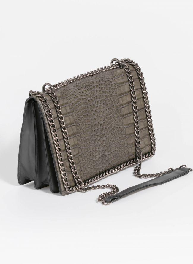 Κροκό τσάντα ώμου με αλυσίδα - Ανθρακί