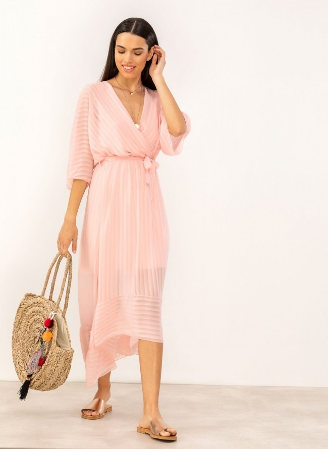 b523f795dd2 Κρουαζέ ασύμμετρο φόρεμα με διαφάνεια - Ροζ