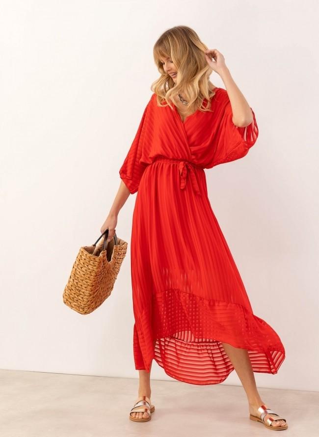 a6d94b2b952c Κρουαζέ ασύμμετρο φόρεμα με διαφάνεια - Κόκκινο