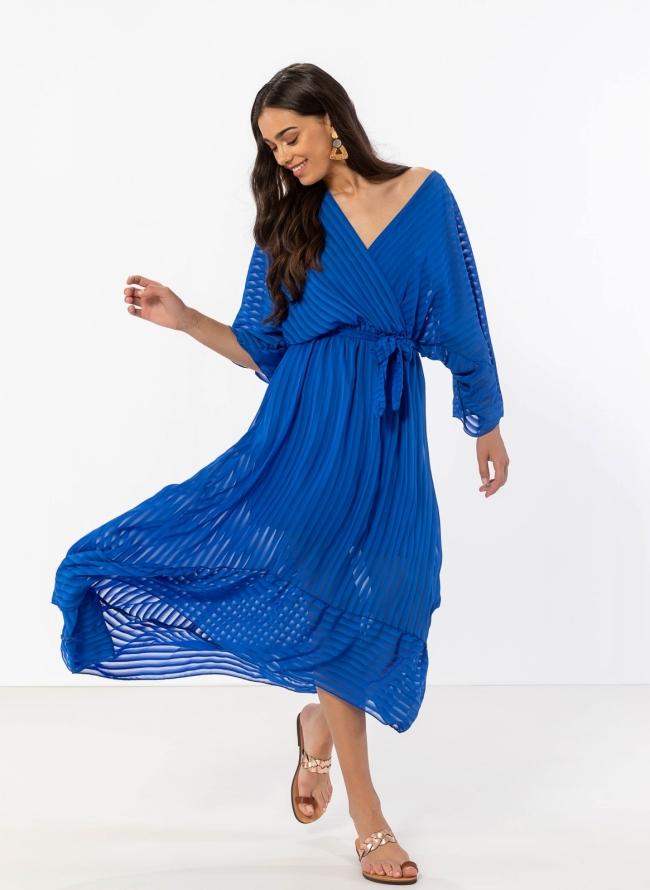 f5e5d1a6320 Κρουαζέ ασύμμετρο φόρεμα με διαφάνεια - Μπλε