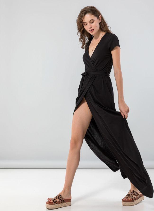 Κρουαζέ φόρεμα με άνοιγμα - Μαύρο