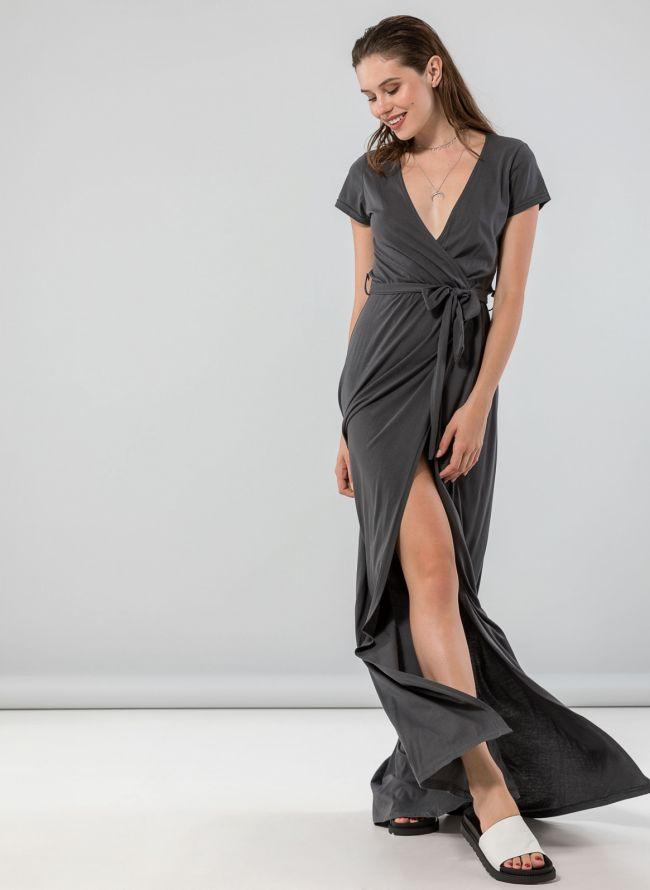 Κρουαζέ φόρεμα με άνοιγμα - Ανθρακί