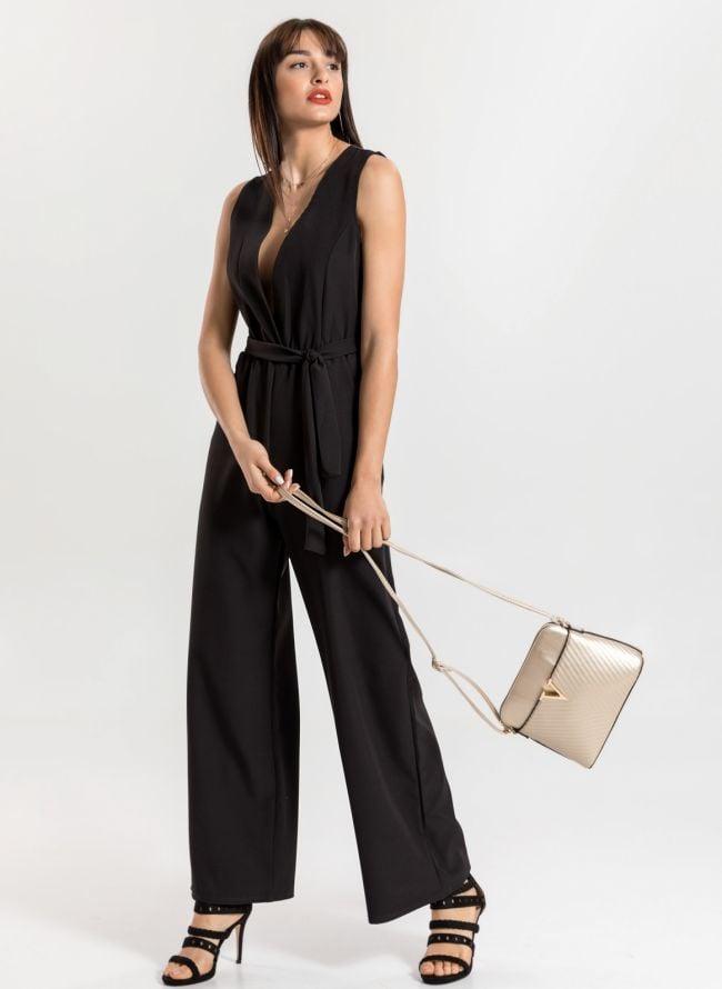 Kρουαζέ φόρμα με ζωνάκι - Μαύρο