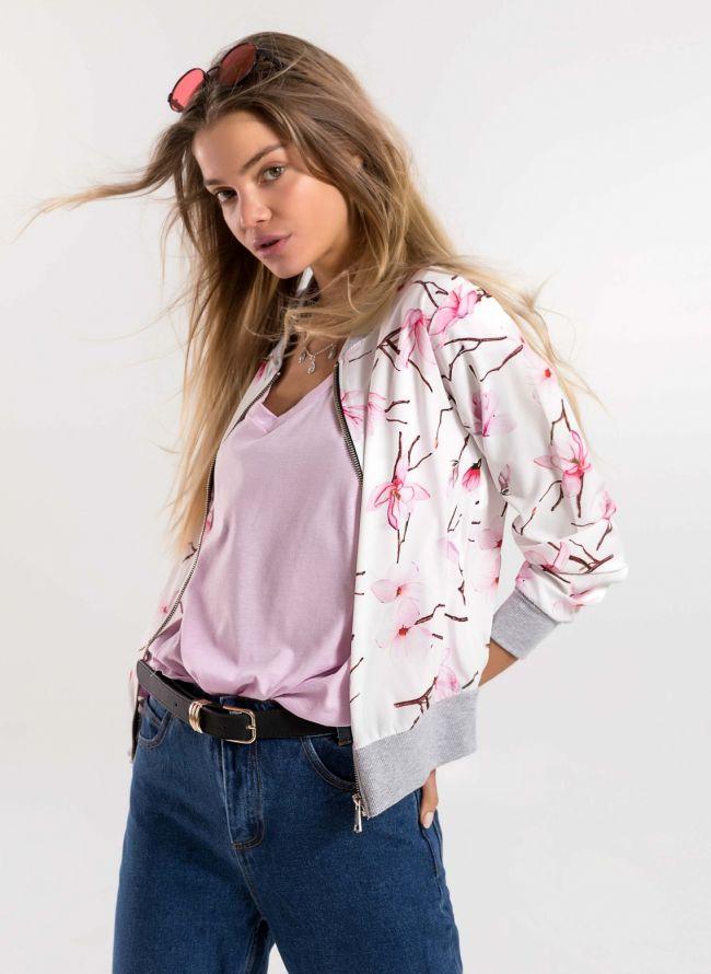 Λεπτό jacket με λουλούδια - Λευκό/Ροζ