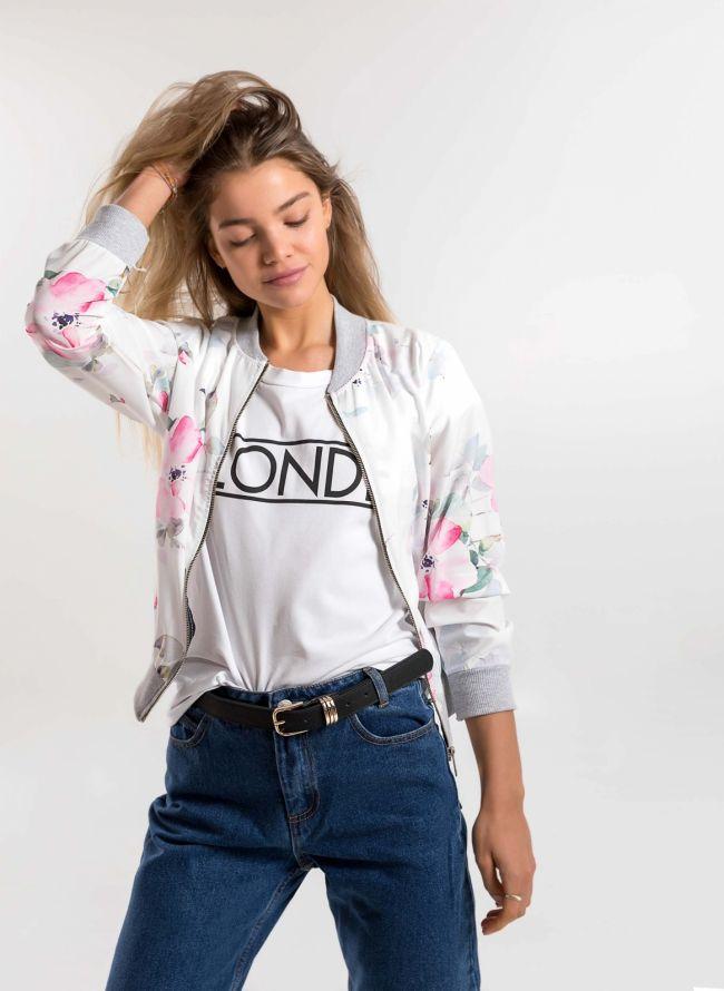 Λεπτό jacket με λουλούδια - Λευκό