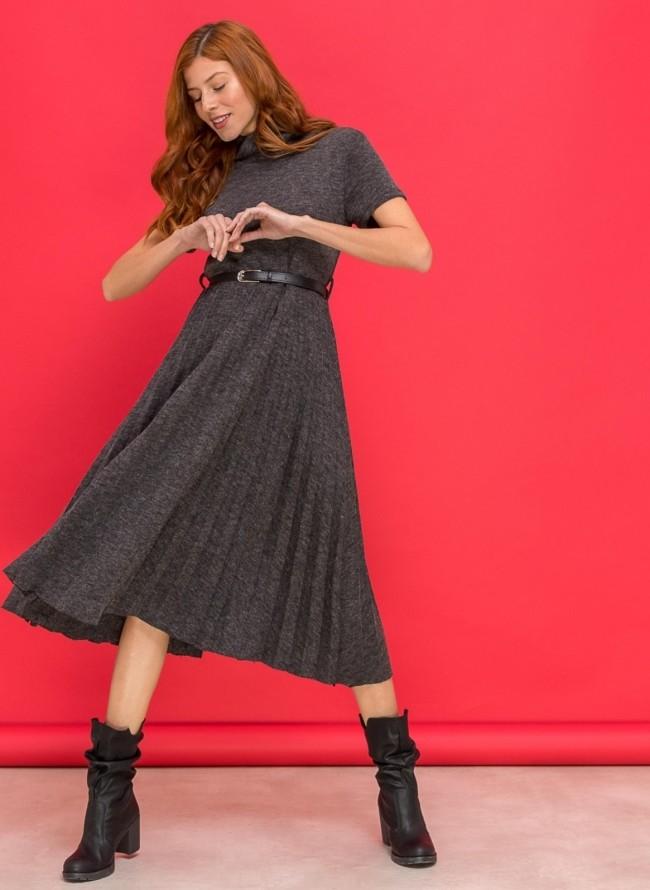 Πλισέ φόρεμα με πιέτα στο μπούστο - Μπλε - TheFashionProject 856f8e66d01
