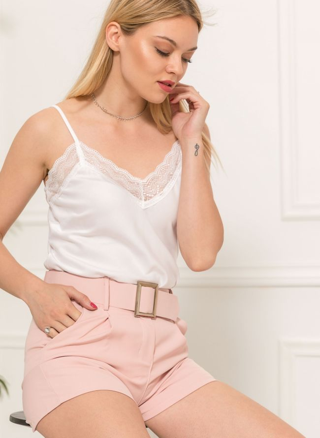 Lingerie top με δαντέλα - Λευκό