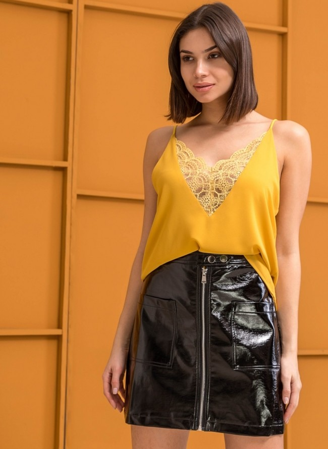 Ελαφριά μπλούζα με αραιή πλέξη - Κίτρινο - TheFashionProject e89f8f86e97