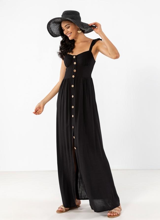 2a4a2d00f0e Λινό maxi φόρεμα με λεπτό βολάν στους ώμους - Μαύρο