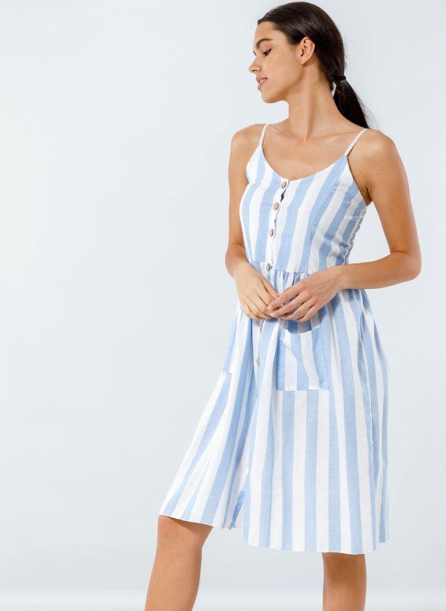 Λινό ριγέ φόρεμα με ξύλινα κουμπιά - Γαλάζιο