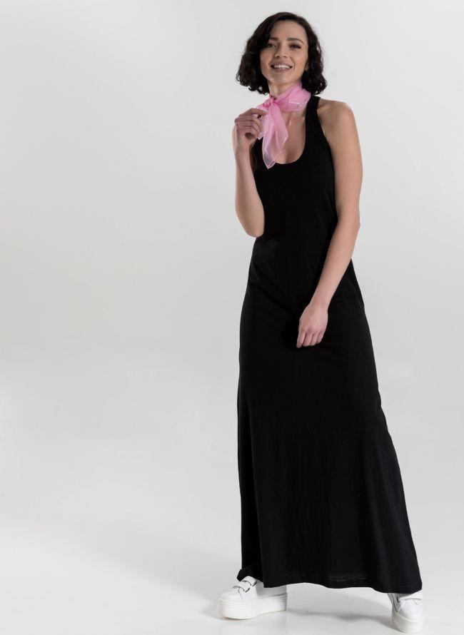 Μακό maxi φόρεμα με αθλητική πλάτη - Μαύρο