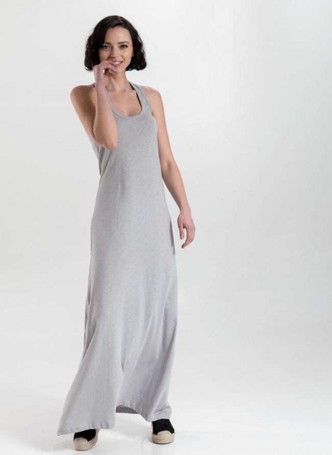 Μακό maxi φόρεμα με αθλητική πλάτη - Γκρι