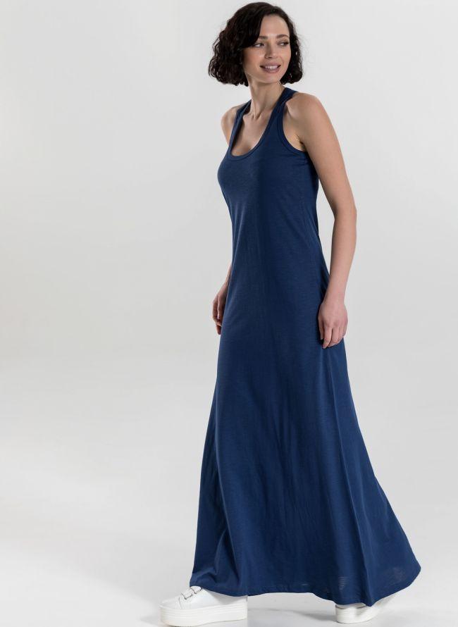 Μακό maxi φόρεμα με αθλητική πλάτη - Μπλε