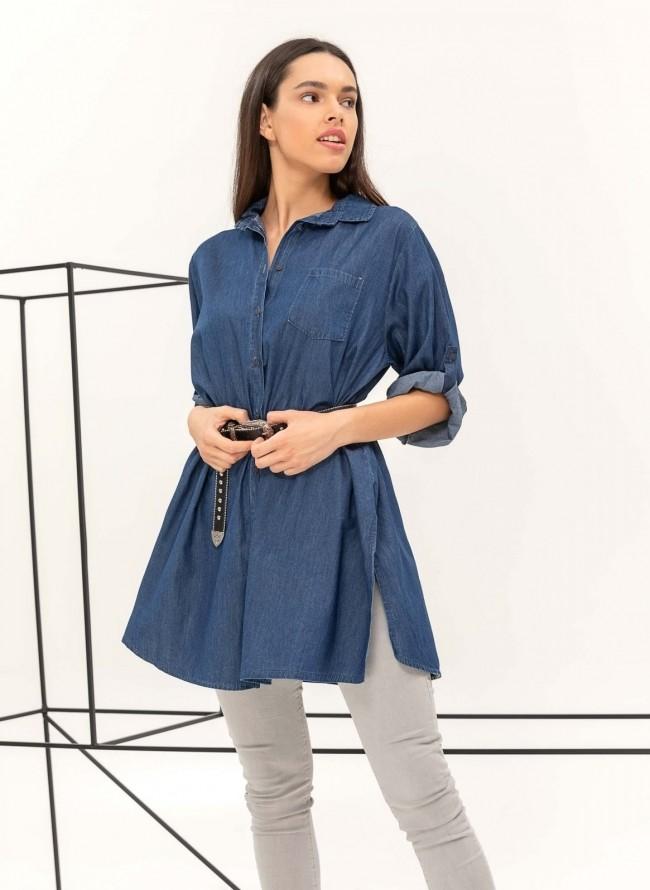 Ασύμμετρο μεσάτο πουκάμισο με πέρλες στον ώμο - Κόκκινο - TheFashionProject 63523ea8172