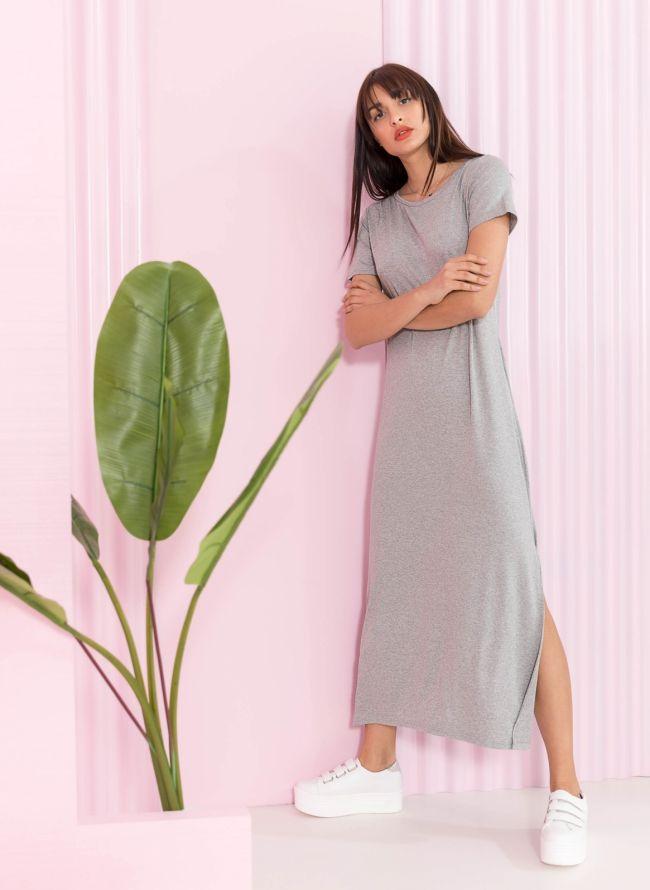 Maxi φόρεμα με άνοιγμα στο πλάι - Γκρι