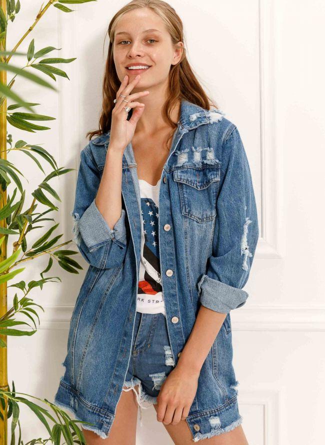 Μακρύ jean jacket με σκισίματα - Μπλε jean