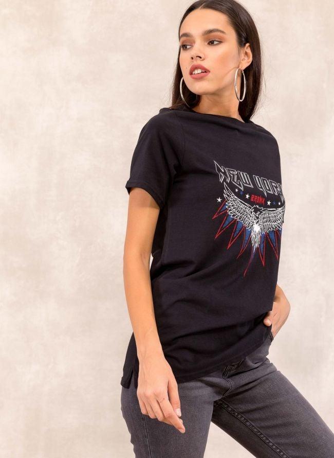 Μακρύ t-shirt με στάμπα - Μαύρο