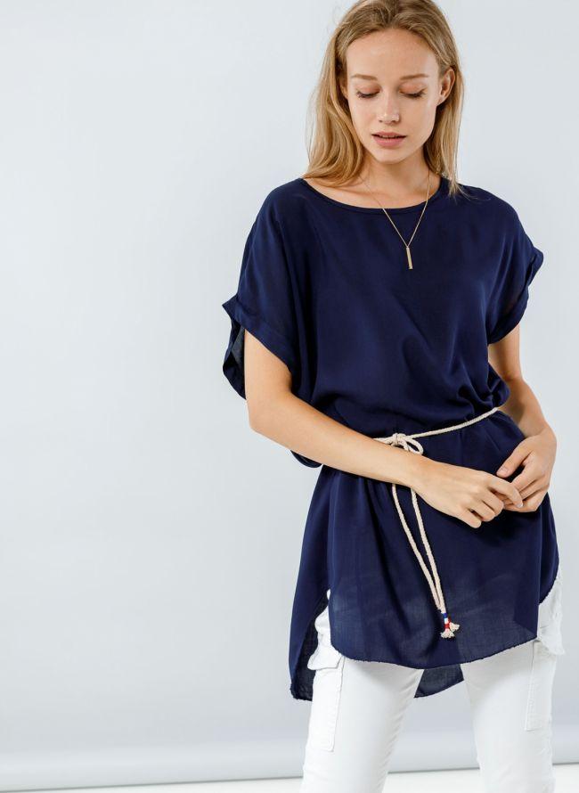 Μακρυα μπλούζα με ζωνάκι - Μπλε σκούρο