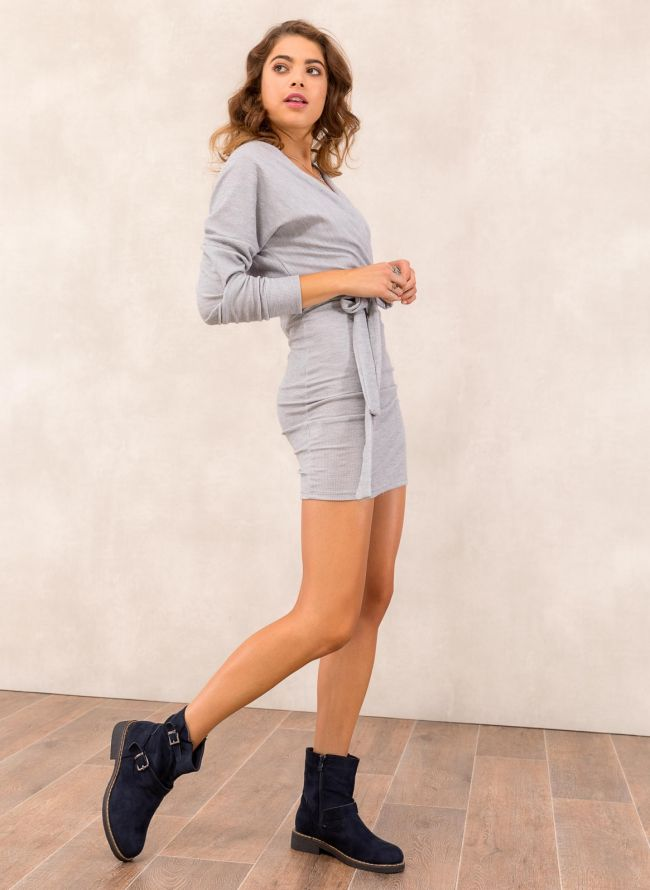 13b3989a7863 Μάλλινο κρουαζέ φόρεμα - Γκρι - TheFashionProject