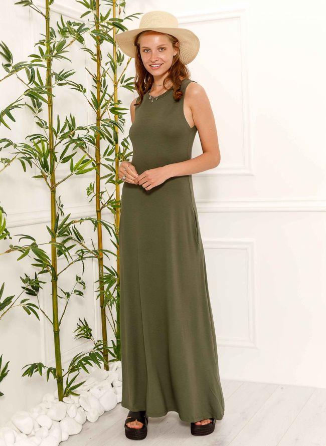 Maxi αμάνικο φόρεμα - Χακί