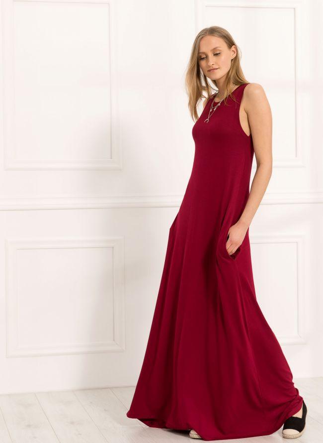 Maxi αμάνικο φόρεμα - Μπορντώ