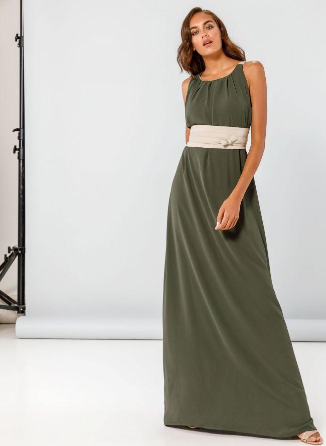 Maxi αμάνικο φόρεμα με φαρδιά ζώνη - Χακί