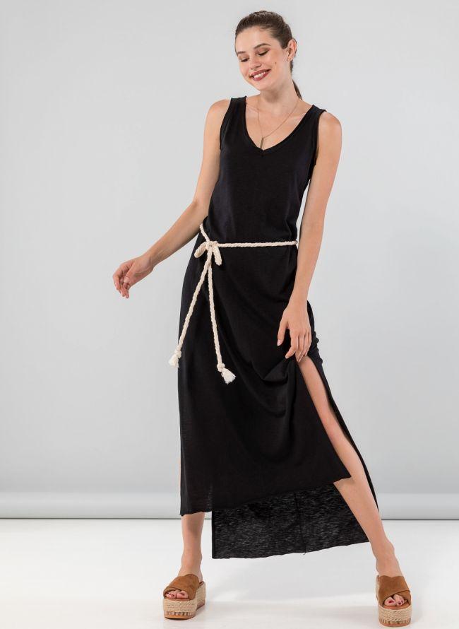 Maxi ασύμμετρο φόρεμα με ανοίγματα στο πλάι - Μαύρο
