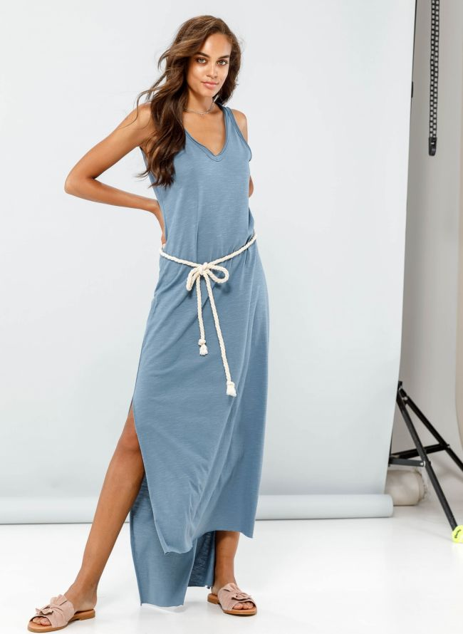 Maxi ασύμμετρο φόρεμα με ανοίγματα στο πλάι - Ραφ