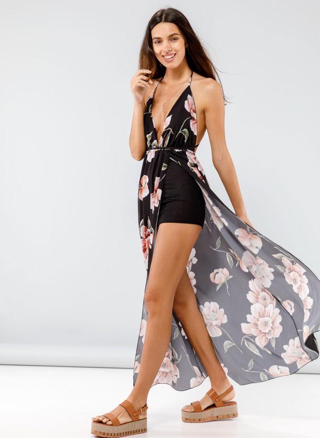 Maxi floral κρουαζέ φόρεμα με άνοιγμα μπροστά - Μαύρο