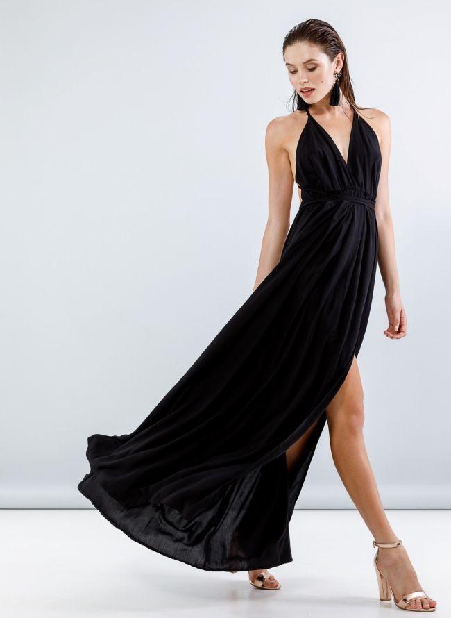 Maxi φόρεμα με άνοιγμα στο πλάι - Μαύρο