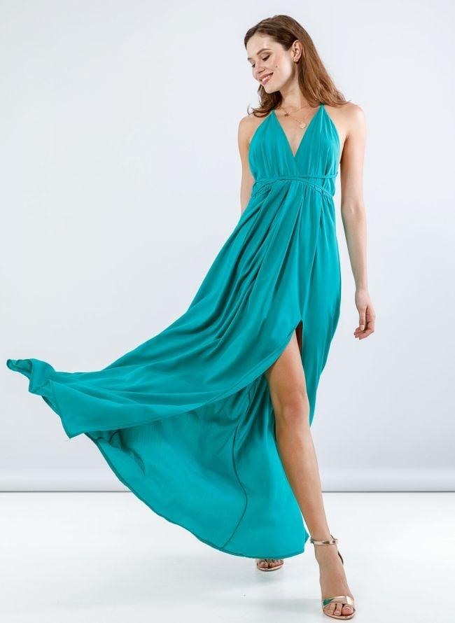 Maxi φόρεμα με άνοιγμα στο πλάι - Πράσινο