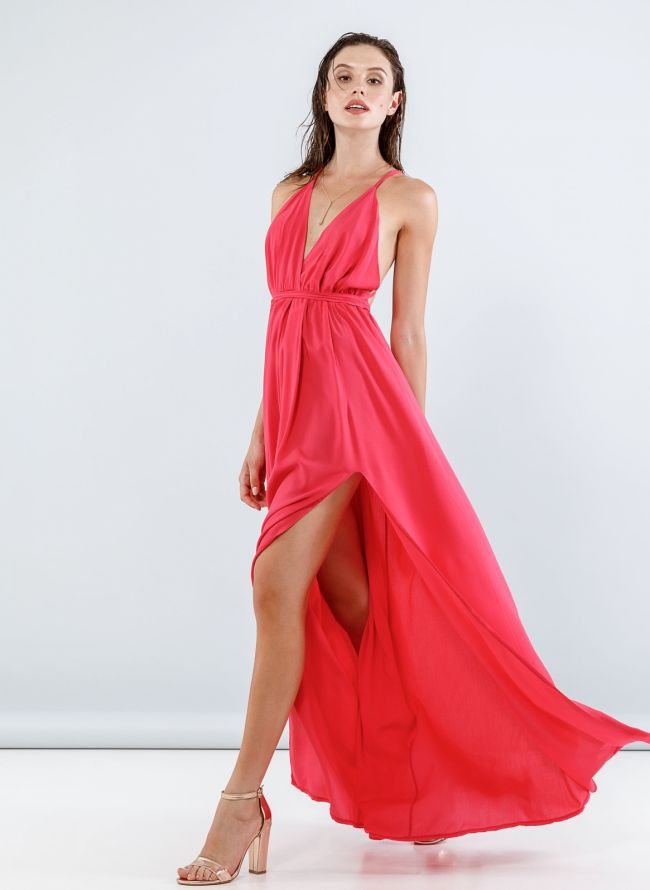 Maxi φόρεμα με άνοιγμα στο πλάι - Ροδί