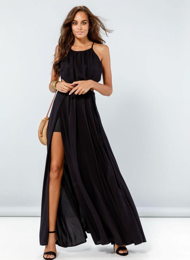 Maxi φόρεμα με ανοίγματα  - Μαύρο