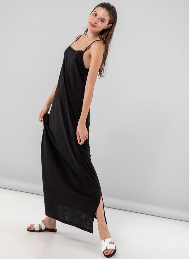 Maxi φόρεμα με boho ραντάκια - Μαύρο